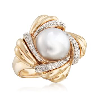 11-11.5mm Cultured Pearl and .12 ct. t.w. Diamond Ring in 14kt Yellow Gold . Size 5, , default