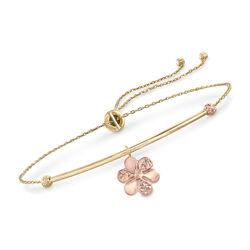 14kt Two-Tone Gold Flower Charm Bolo Bracelet, , default