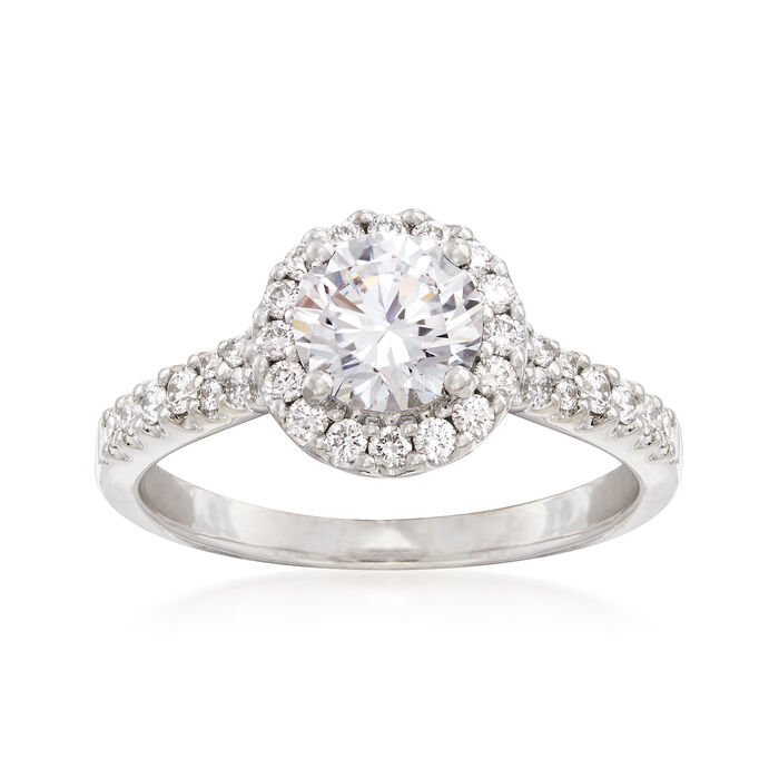 .49 ct. t.w. Diamond Halo Engagement Ring Setting in 14kt White Gold, , default