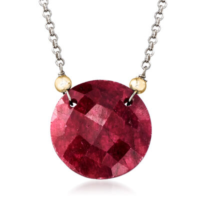 17.00 Carat Red Corundum Necklace in Sterling Silver and 14kt Yellow Gold