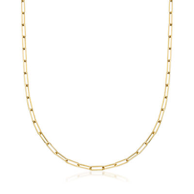 Italian 14kt Yellow Gold Paper Clip Link Necklace, , default