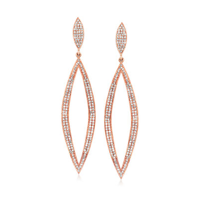 C. 1990 Vintage 2.50 ct. t.w. Diamond Open Marquise-Drop Earrings in 18kt Rose Gold