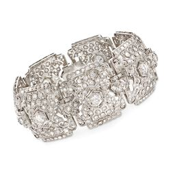 C. 1980 Vintage 10.00 ct. t.w. Diamond Wide Bracelet in Platinum, , default