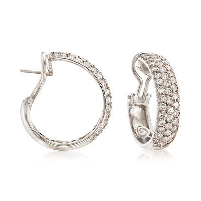 C. 1990 Vintage 4.50 ct. t.w. Diamond Hoop Earrings in 18kt White Gold, , default