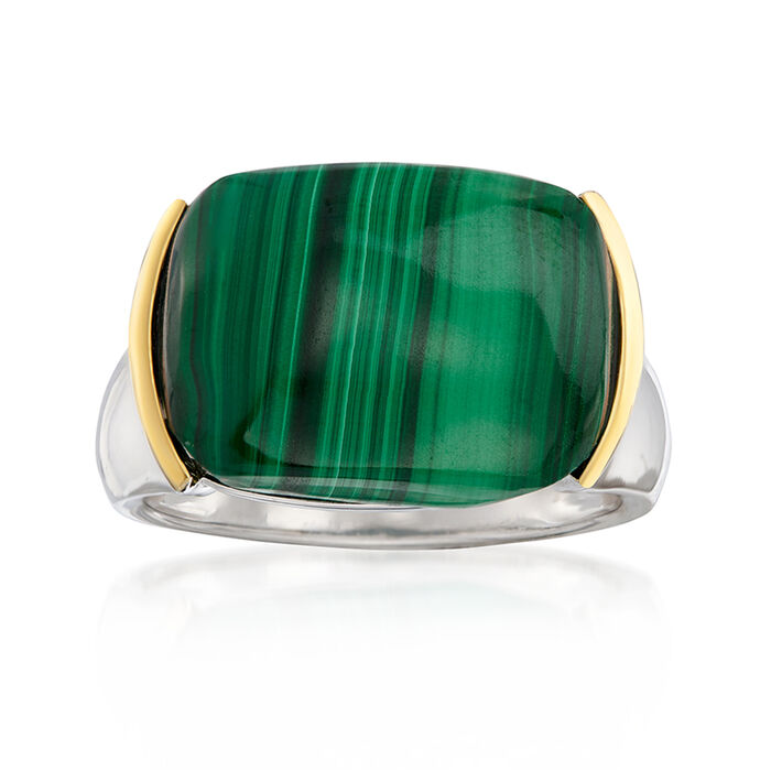 Green Malachite Ring in Sterling Silver with 14kt Yellow Gold