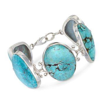 "20-30mm Multi-Shaped Turquoise Bracelet in Sterling Silver. 7"", , default"