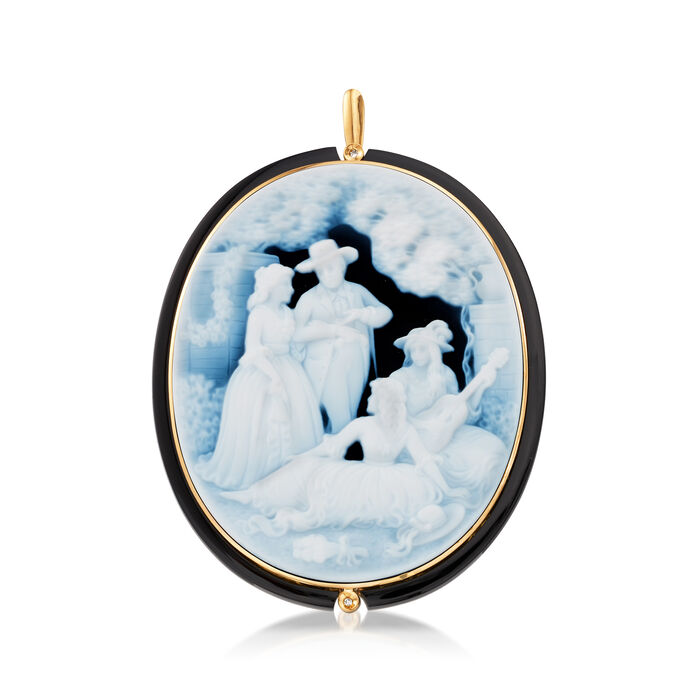 C. 1970 Vintage Black Agate Cameo Pin/Pendant with Diamond Accents in 18kt Yellow Gold