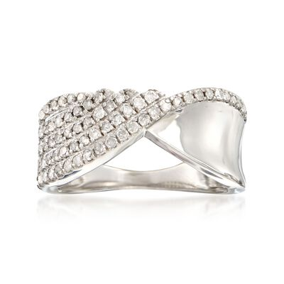 .50 ct. t.w. Diamond Half-Row Twist Ring in Sterling Silver, , default