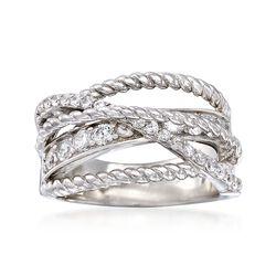 .80 ct. t.w. CZ Crisscross Ring in Sterling Silver, , default