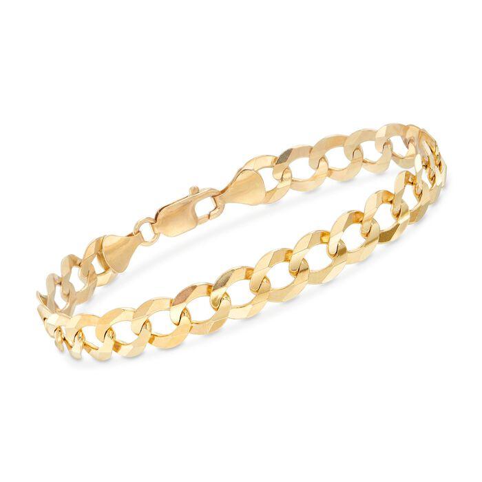 "Men's 10mm 14kt Yellow Gold Faceted Curb-Link Chain Bracelet. 8.5"", , default"