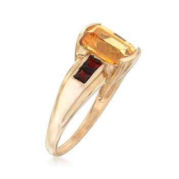 C. 1980 Vintage 2.90 Carat Citrine and .50 ct. t.w. Garnet Ring in 10kt Yellow Gold. Size 8.5, , default