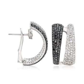 "Roberto Coin 2.60 ct. t.w. Black and White Diamond Hoop Earrings in 18kt White Gold. 5/8"", , default"