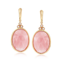 Pink Opal and .20 ct. t.w. White Topaz Drop Earrings in 18kt Gold Over Sterling, , default