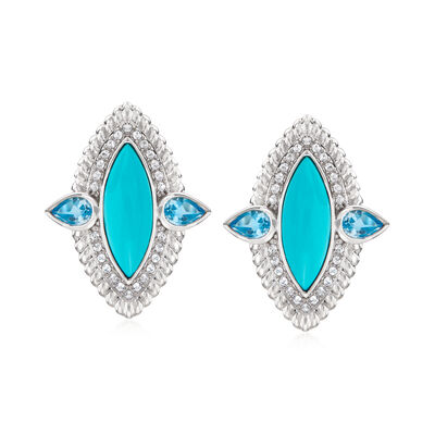 Turquoise and 1.10 ct. t.w. Sky Blue and White Topaz Earrings in Sterling Silver