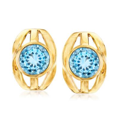 9.00 ct. t.w. Sky Blue Topaz Earrings in 18kt Gold Over Sterling