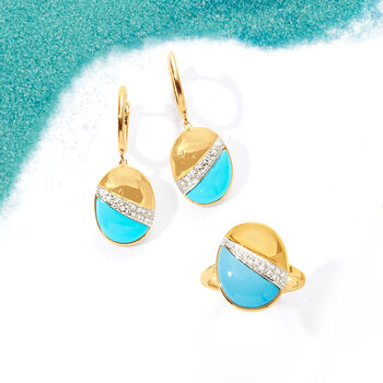 "Turquoise and .14 ct. t.w. Diamond Drop Earrings in 14kt Yellow Gold. 1 1/8"", , default"
