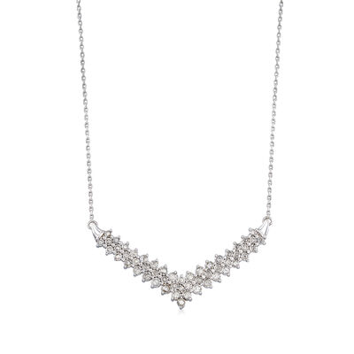 1.00 ct. t.w. Diamond Chevron Necklace in Sterling Silver, , default