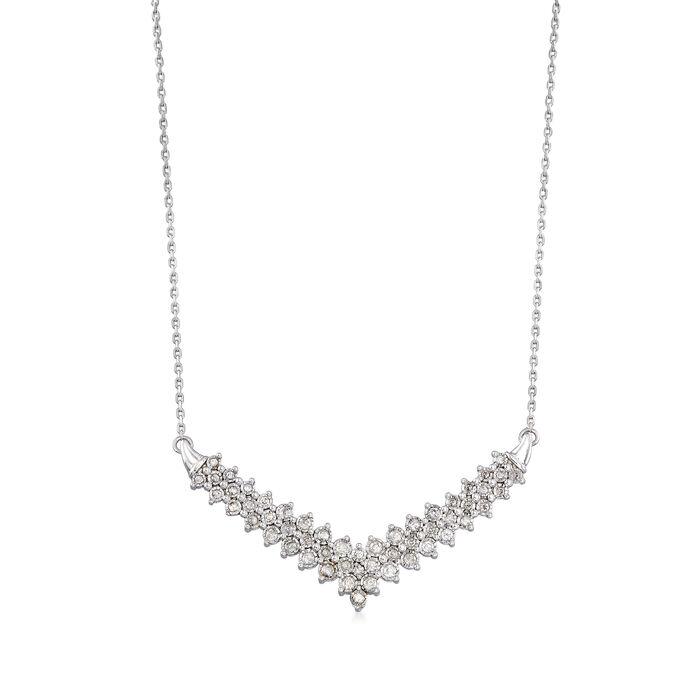 1.00 ct. t.w. Diamond Chevron Necklace in Sterling Silver
