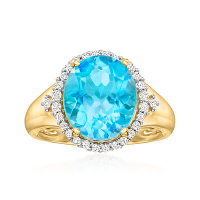 6.00 Carat Swiss Blue Topaz and .25 ct. t.w. Diamond Ring in 14kt Yellow Gold