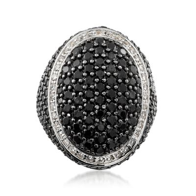 4.44 ct. t.w. Black Spinel and .70 ct. t.w. White Topaz Ring in Sterling Silver, , default
