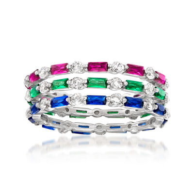 .90 ct. t.w. Multi-Gemstone and .80 ct. t.w. CZ Jewelry Set: Three Rings in Sterling Silver, , default