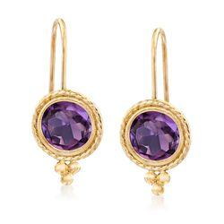 1.40 ct. t.w. Amethyst Drop Earrings in 14kt Yellow Gold, , default