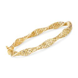 "14kt Yellow Gold Latticework Bangle Bracelet. 7"", , default"
