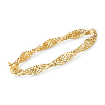 14kt Yellow Gold Latticework Bangle Bracelet, , default