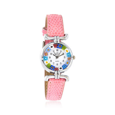 Italian Woman's Floral Multicolored Murano Glass 26mm Watch With Pink Leather, , default