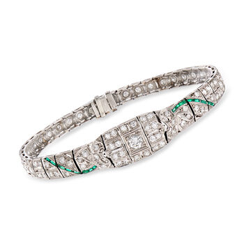 "C. 1920 Vintage 3.10 ct. t.w. Diamond and Green Synthetic Spinel Bracelet in Platinum. 7.5"", , default"