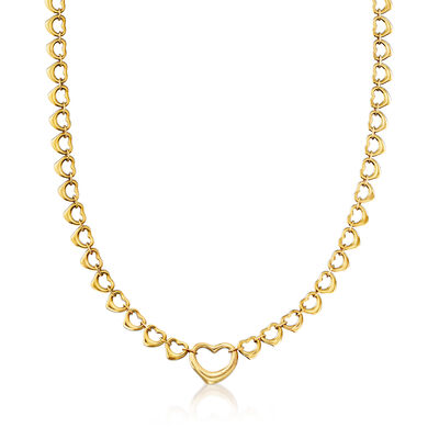 "C. 1990 Vintage Tiffany Jewelry ""Elsa Peretti"" Heart Necklace in 18kt Yellow Gold, , default"