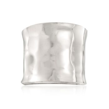 Italian Sterling Silver Hammered Cuff Ring. Size 5, , default