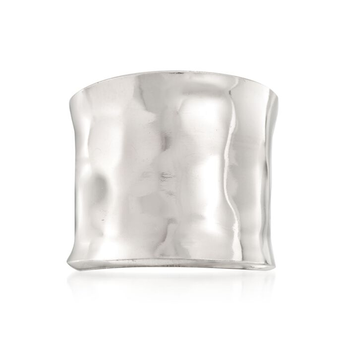 Italian Sterling Silver Hammered Cuff Ring, , default