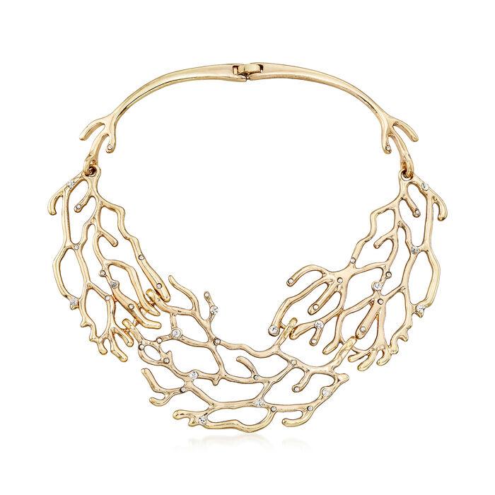 """Via Collection Crystal Branch Bib Necklace. 17"""""""