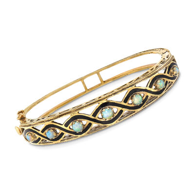 C. 1960 Vintage Cabochon Opal and Black Enamel Bangle Bracelet in 14kt Yellow Gold, , default