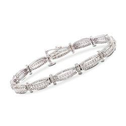 "2.92 ct. t.w. Diamond Triple-Bar Bracelet in 14kt White Gold. 7"", , default"