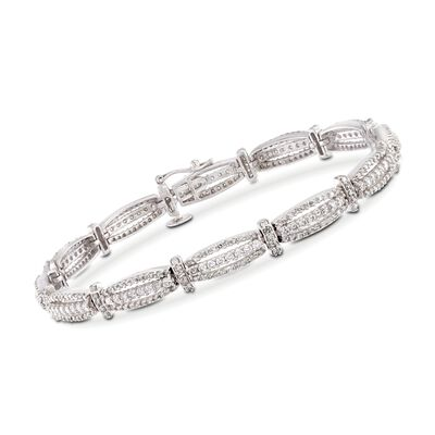 2.92 ct. t.w. Diamond Triple-Bar Bracelet in 14kt White Gold, , default