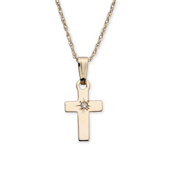 "Baby's 14kt Yellow Gold Cross Pendant Necklace With Diamond Accent. 13"", , default"