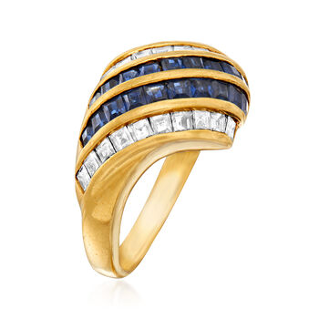 C. 1980 Vintage 1.14 ct. t.w. Sapphire and .88 ct. t.w. Diamond Diagonal Ring in 18kt Yellow Gold. Size 7.75, , default