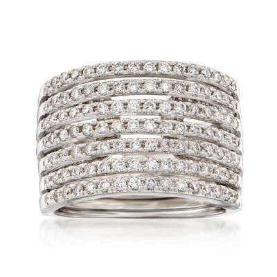 1.10 ct. t.w. Diamond Multi-Row Ring in 14kt White Gold, , default