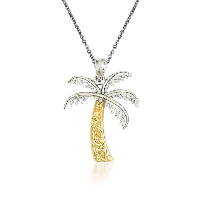 "14kt Two-Tone Gold Palm Tree Pendant Necklace. 18"", , default"