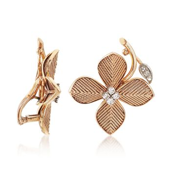 C. 1950 Vintage .50 ct. t.w. Diamond Floral Earrings in 14kt Yellow Gold , , default