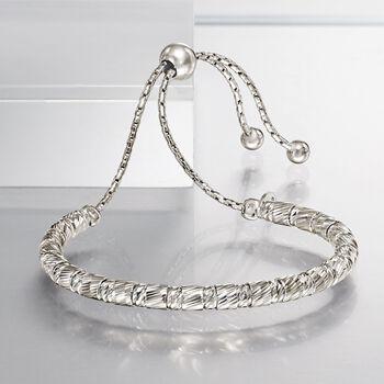Italian Sterling Silver Cylinder Bead Bolo Bracelet, , default