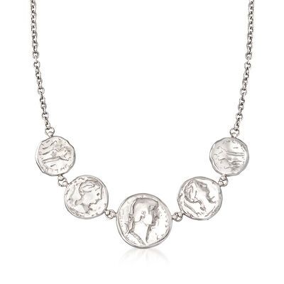Italian Sterling Silver Ancient Coin Necklace, , default
