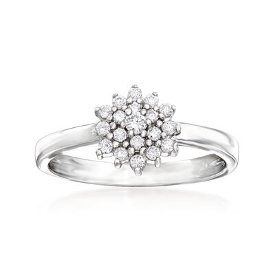 C. 1990 Vintage Giantti .25 ct. t.w. Diamond Cluster Ring in 18kt White Gold, , default