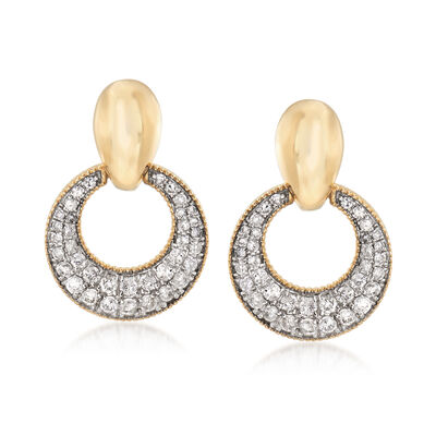 1.00 ct. t.w. Diamond Circle Drop Earrings in 14kt Yellow Gold, , default