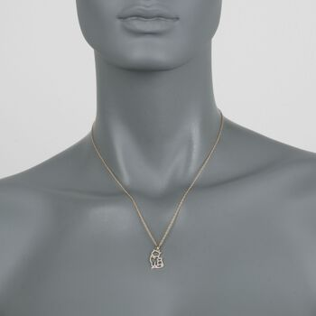 ".12 ct. t.w. Diamond Cat Duo Pendant Necklace in 14kt Gold Over Sterling. 18"", , default"