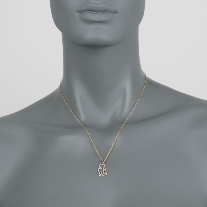 """.12 ct. t.w. Diamond Cat Duo Pendant Necklace in 14kt Gold Over Sterling. 18"""", , default"""