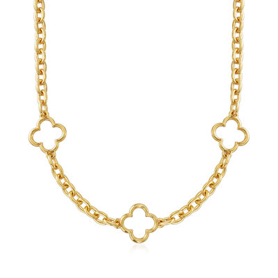 Italian Andiamo 14kt Gold Four-Leaf Clover Station Necklace