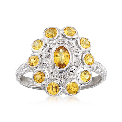 C. 1980 Vintage 1.65 ct. t.w. Yellow Sapphire Ring with Diamond Accents in 14kt White Gold
